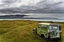 Northern Icelandic landscape with a car wreck