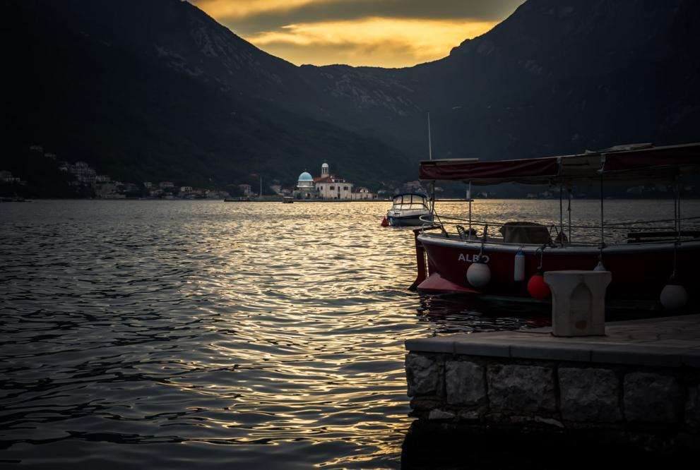 Kotor Bay sunset with a church