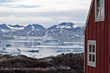 Greenland,  waterfalls, glaciers and green valleys.