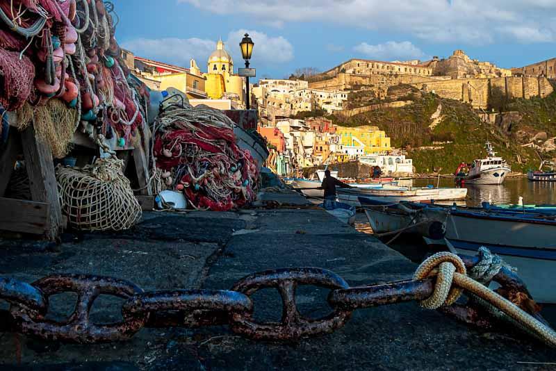 Corricella harbour scene