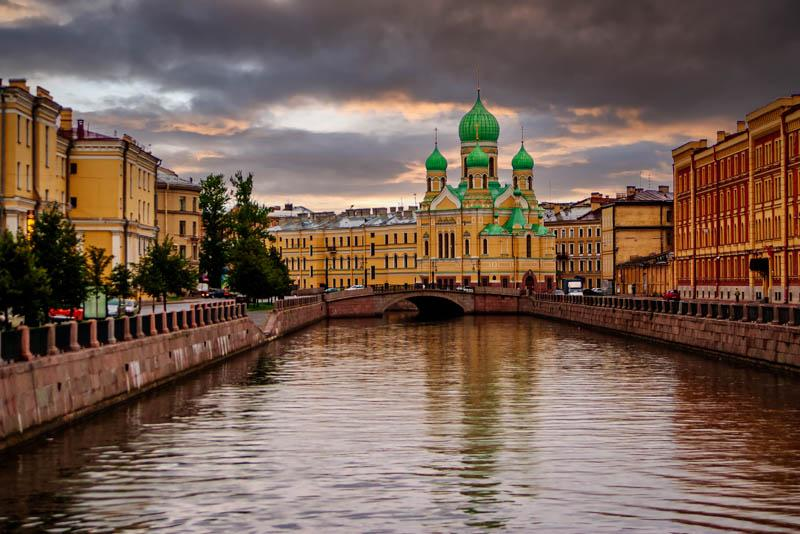 Gryboyedov Canal and St. Isidor church