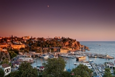 Sunset over Kaleici and the roman harbour, Antalya, Turkey