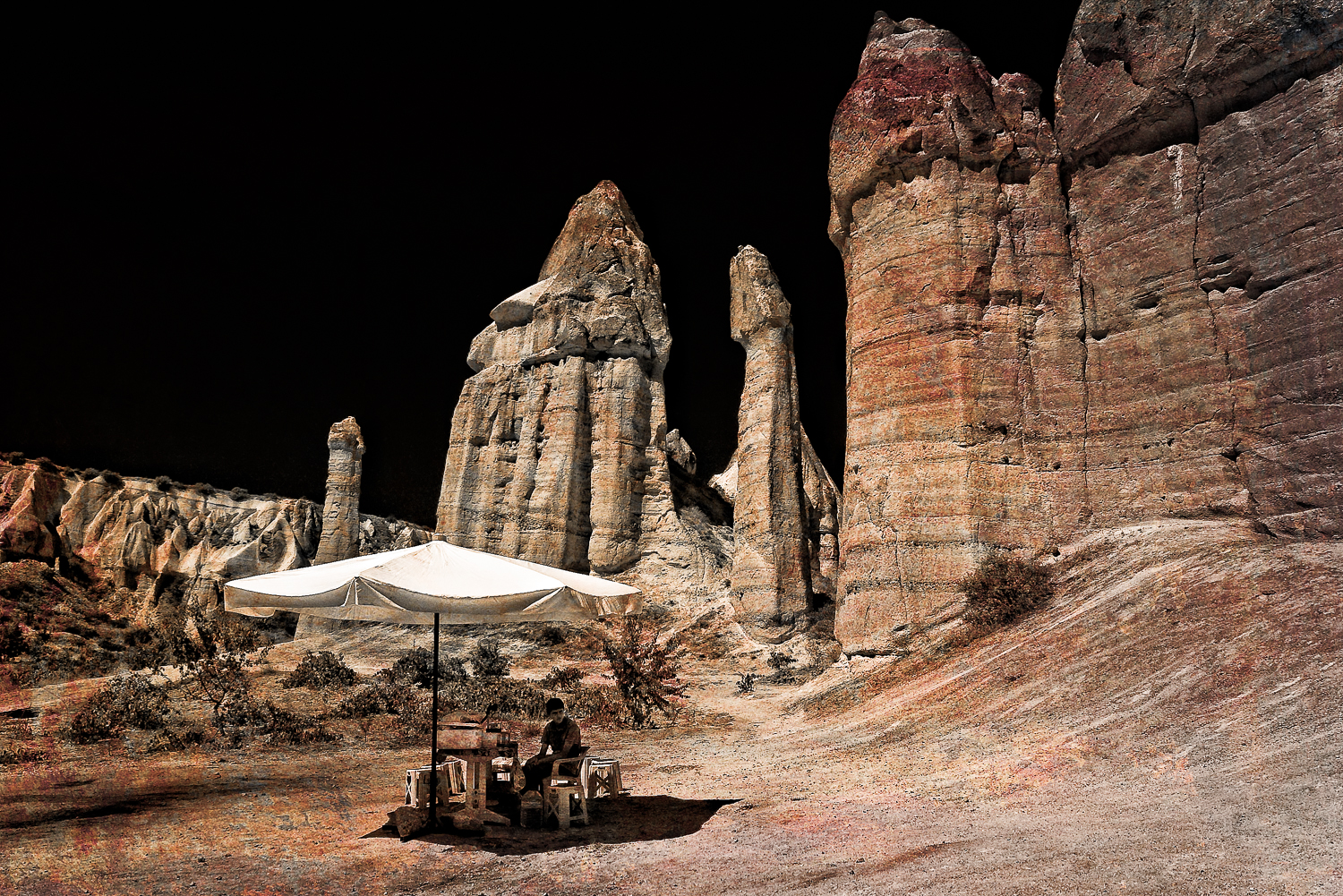 The vendor in the emptiness, Cappadocia, Turkey