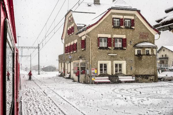 Zernez station under the snow.