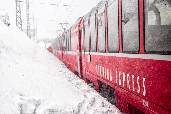 The train waiting for departure at Ospizio Bernina Station