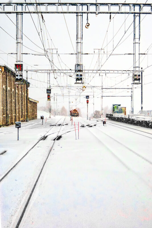 Pontresina station, the real beginning of the Bernina route, under the snow