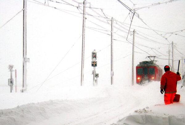 Approaching Ospizio Bernina station