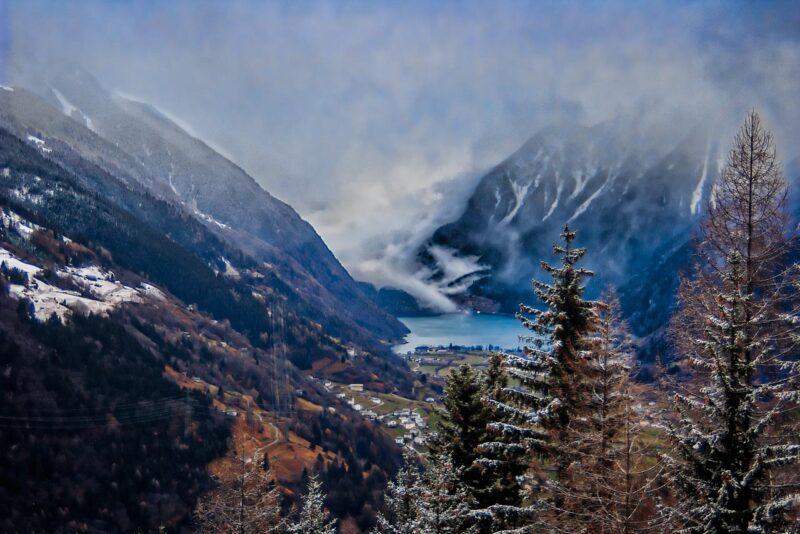 Lake Poschiavo from the Bernina Express