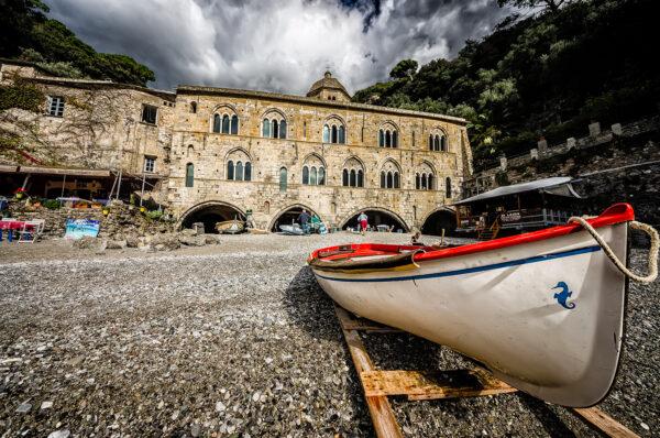 San Fruttuoso abbey and a boat