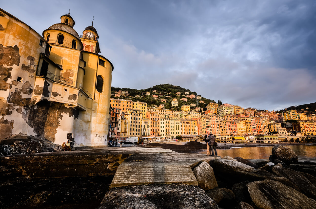 Camogli afternoon. View of the old town with its trompe l'oeil façades