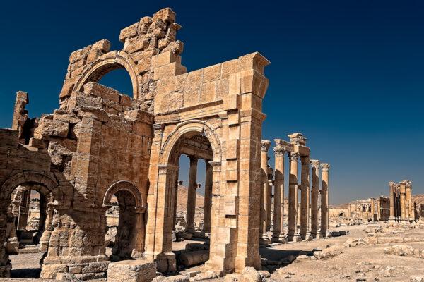 Palmyra ruins with morning light