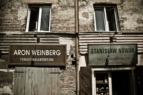Restored old Jewish shops in Kazimierz, Krakow, Poland