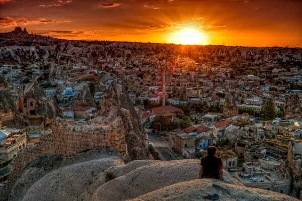Tramonto su Göreme Cappadocia