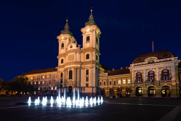 Eger beautiful town in Hungary..  Dobo Square and the fountain by night
