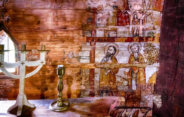 Ieud wooden church interior Maramures Romania