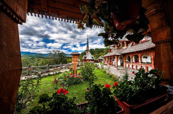 Botiza wooden church nuns monastery Maramures Romania
