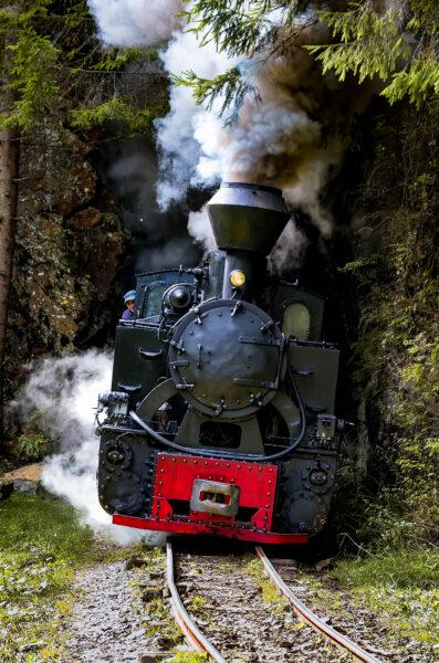 Mocanita Locomotiva a vapore in uscita da un tunnel