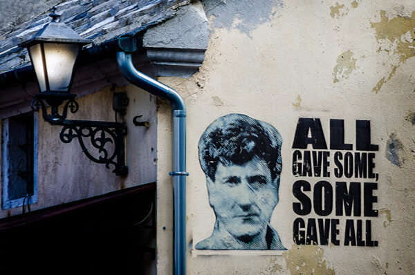 The question is.... Mural on a wall of Mostar - All gave some, some gave all