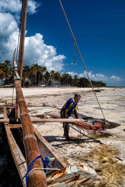 Jambiani Zanzibar Caulking a ngalawa in Jambiani