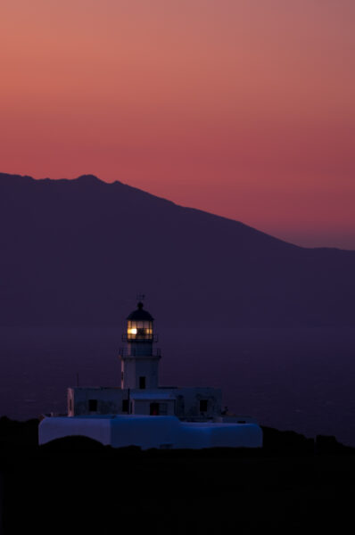 Out of the crowd in Mykonos, Blue hour at the lighthouse. Armenisti lighthouse, Mykonos, Cyclades, Greece