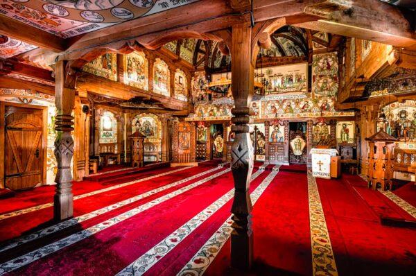 Interior Barsana wooden church Maramures Romania UNESCO Heritage