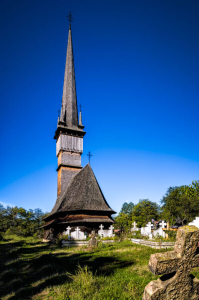 Wooden church of the Holy Archangels in Surdesti, Maramujres, Romania, UNESCO Heritage