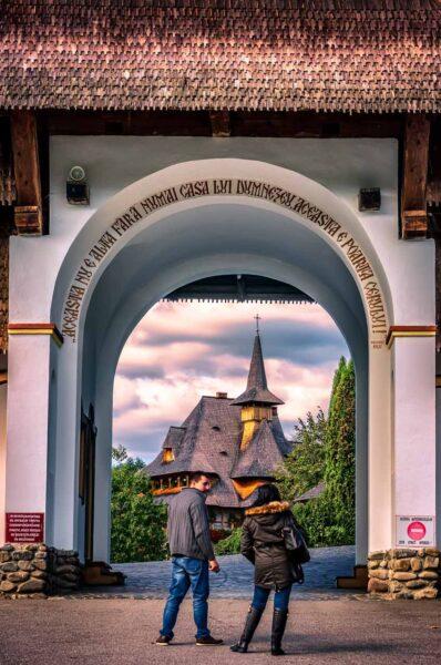 Entering the Monastery of Barsana, Maramures, Romania